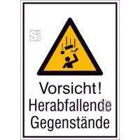 Kombischild mit Warnschild und Zusatztext, Vorsicht! Herabfallende Gegenstände