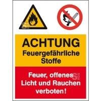 Kombischild mit Warnzeichen und Verbotszeichen, ACHTUNG Feuergefährliche Stoffe ...