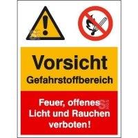 Kombischild mit Warnzeichen und Verbotszeichen, Vorsicht Gefahrstoffbereich ...