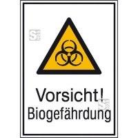 Kombischild mit Warnzeichen und Zusatztext, Vorsicht! Biogefährdung