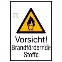 Kombischild mit Warnzeichen und Zusatztext, Vorsicht! Brandfördernde Stoffe