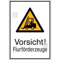 Kombischild mit Warnzeichen und Zusatztext, Vorsicht! Flurförderzeuge