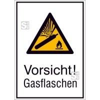 Kombischild mit Warnzeichen und Zusatztext, Vorsicht! Gasflaschen