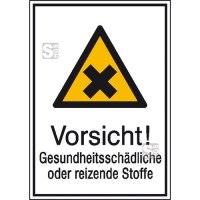 Kombischild mit Warnzeichen und Zusatztext, Vorsicht! Gesundheitsschädliche oder reizende Stoffe