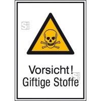 Kombischild mit Warnzeichen und Zusatztext, Vorsicht! Giftige Stoffe