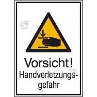 Kombischild mit Warnzeichen und Zusatztext, Vorsicht! Handverletzungsgefahr
