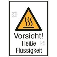 Kombischild mit Warnzeichen und Zusatztext, Vorsicht! Heiße Flüssigkeit