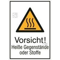 Kombischild mit Warnzeichen und Zusatztext, Vorsicht! Heiße Gegenstände oder Stoffe