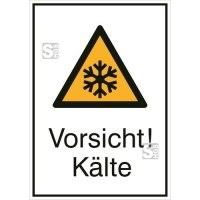 Kombischild mit Warnzeichen und Zusatztext, Vorsicht! Kälte