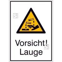 Kombischild mit Warnzeichen und Zusatztext, Vorsicht! Lauge