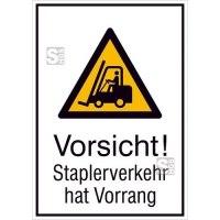 Kombischild mit Warnzeichen und Zusatztext, Vorsicht! Staplerverkehr hat Vorrang