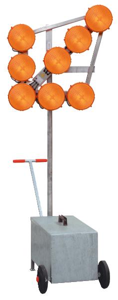 LED-Leuchtpfeil HLP 8, fahrbar (Blinkpfeil) 12 / 24V, 8-LED-Richtstrahler RS 2000 Plus, BASt-geprüft nach TL-Warnleuchten