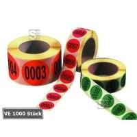Lageretiketten, fortlaufend nummeriert, Ziffern 1 bis 1000, 1000 Stück auf Rolle