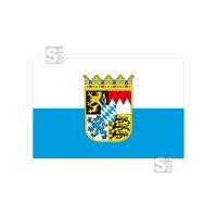 Landesflagge Bayern (weiß / blau mit Wappen), Stoffqualität FlagTop 110 g / m² oder 160 g / m², 60 x 90 bis 400 x 150 cm