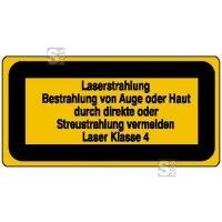 Laserkennzeichnung / Warnzusatzschild, Laserstrahlung, Bestrahlung von Auge oder Haut...