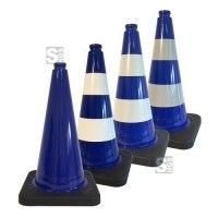Leitkegel -Safety- aus PVC, Höhe 500 mm, blau tagesleuchtend, wahlweise mit (Folien-) Streifen