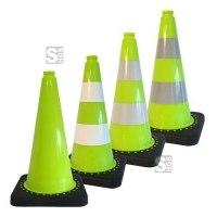 Leitkegel -Safety- aus PVC, Höhe 500 mm, grün tagesleuchtend, wahlweise mit (Folien-) Streifen