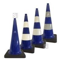 Leitkegel -Safety- aus PVC, Höhe 750 mm, blau tagesleuchtend, wahlweise mit (Folien-) Streifen