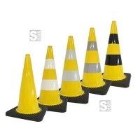 Leitkegel -Safety- aus PVC, Höhe 750 mm, gelb tagesleuchtend, wahlweise mit (Folien-) Streifen