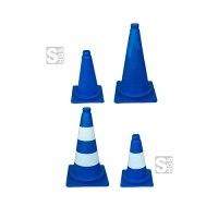 Leitkegel aus PVC, blau tagesleuchtend, versch. Höhen, wahlweise mit weißen (Folien-)Streifen
