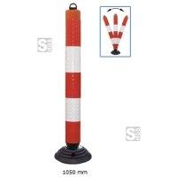 Leitzylinder -Cone- Ø 100 mm, anfahrbar, vollreflektierend, inkl. Recyclingfuß, Höhe 1050 mm, mit Kettenaufnahme