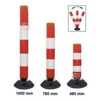 Leitzylinder -Cone- Ø 100mm, anfahrbar, vollreflektierend, mit Recyclingfuß, H 460, 760 o. 1000mm