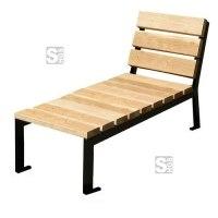 Liegebank -Nature- aus Stahl und Eichenholz, Lasur Eiche hell oder Mahagoni