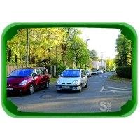 Mehrzweckspiegel Visiom®, für 2 Blickrichtungen, eckig, mit grünem Rahmen