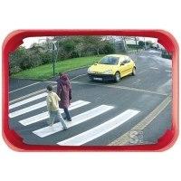 Mehrzweckspiegel Visiom®, für 2 Blickrichtungen, eckig, mit rotem Rahmen