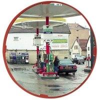 Mehrzweckspiegel Visiom®, für 2 Blickrichtungen, rund, mit rotem Rahmen