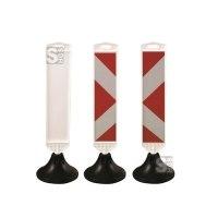 Minibake mit Bakenfuß, 915 x 150 mm (HxB), wahlweise weiß oder rot / weiß mit Richtungspfeil, ca. 5,2 kg