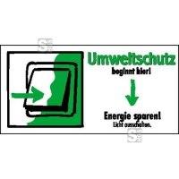 Motivationsschild Energie sparen! Licht ausschalten, rechteckig