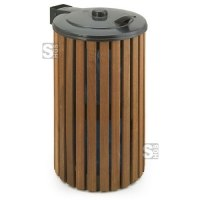 Müllsackständer -P-Bins 74- 110 Liter aus Stahl mit Holzverkleidung und Klappdeckel