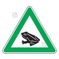 Natur- und Umweltschutzschild -Krötenwanderung-, mit Frosch-Piktogramm, dreieckig
