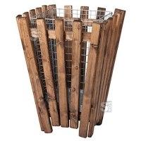 Papierkorb -M7- 50 Liter mit Holzverkleidung und Einsatzkorb