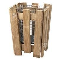 Papierkorb -M8- 30 Liter mit Holzverkleidung und Einsatzkorb
