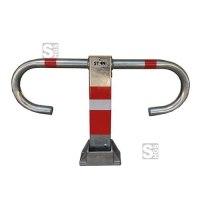 Parkbügel -BÜG-, aufgestellt u. umgelegt abschließbar - rot / weiß