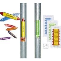 Pfeilschilder, Etiketten zur Rohrleitungskennzeichnung, Gruppe 0, Sauerstoff, nach TRGS 201 und DIN 2403