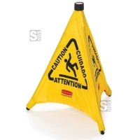Pop-Up Pylon -Caution- Rubbermaid, 3-seitig, selbstöffnend - inkl. Lagerbehälter