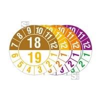 Prüfplakette mit Jahresfarben (übergreifend), Halbjahresplakette, 2018-2022, Bogen