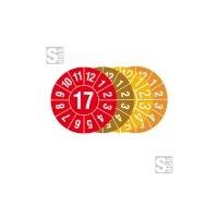 Prüfplaketten mit Jahresfarbe (1 Jahr), 2017-2020, Jahreszahl 2 oder 4-stellig, Bogen