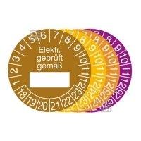 Prüfplaketten mit Jahresfarbe (6 J.), 2018 / 2023 - 2021 / 2026, Elektr. geprüft gemäß..., 15er-Bogen