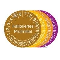 Prüfplaketten mit Jahresfarbe (6 J.), 2018 / 2023 - 2021 / 2026, Kalibriertes Prüfmittel, 15er-Bogen