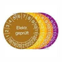 Prüfplaketten mit Jahresfarbe (6 Jahre), 2018 / 2023 - 2021 / 2026, Elektr. geprüft, 15er-Bogen
