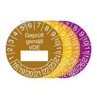Prüfplaketten mit Jahresfarbe (6 Jahre), 2018 / 2023 - 2021 / 2026, Geprüft gemäß VDE, 15er-Bogen