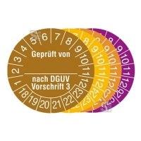 Prüfplaketten mit Jahresfarbe (6 Jahre), 2018 / 2023 - 2021 / 2026, Geprüft von... nach DGUV Vorschrift 3, Rolle