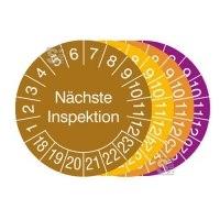 Prüfplaketten mit Jahresfarbe (6 Jahre), 2018 / 2023 - 2021 / 2026, Nächste Inspektion, Rolle