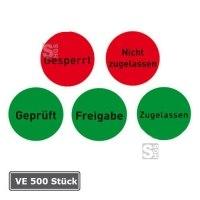 Qualitätssicherungs-Etiketten auf Rolle, 500 Stück, ablösbar oder permanent