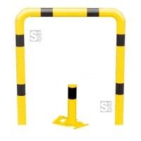 Rammschutzbügel -Solid- Ø 76 mm, zum Aufdübeln, lösbar und abnehmbar, Höhen 650 und 1150 mm, verschiedene Breiten