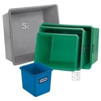 Rechteckbehälter Grau - aus GFK, Volumen 100 bis 3300 Liter, stapelbar, wahlweise mit Staplertaschen